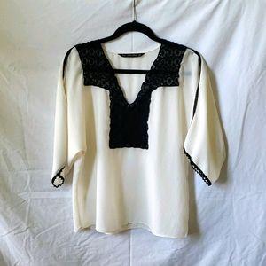 ZARA Basic flowy cream colored top